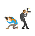 photographer and paparazzi with digital cameras vector image vector image