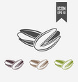 pistachio isolated black and colored icons vector image
