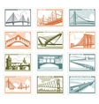 postage stamps bridges vector image