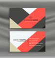 red and gray geometric business card template vector image vector image