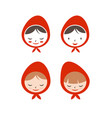 set flat icon girl in red hat vector image