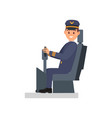 smiling man sitting on captain s chair vector image vector image