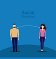 social distanting friend couple long distance vector image vector image