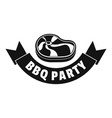 steak bbq party logo simple style vector image