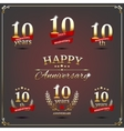 Ten years anniversary signs collection vector image vector image