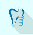 tooth implant logo icon flat style vector image vector image