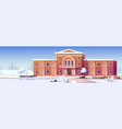 university or public library building at winter vector image vector image