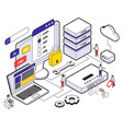 web hosting isometric concept vector image vector image