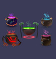 witch cauldrons with magic potions and elixir vector image