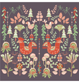 scandinavian style animal and floral vector image