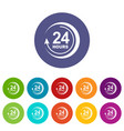 24 hours support icon simple style vector image