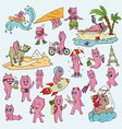 a set of funny pink men in chibi doodle style vector image