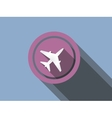 airplane flat icon on a blue background vector image vector image