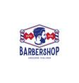 barber shop logo design inspiration in blue and vector image vector image
