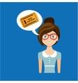 beautiful girl concept cinema movie ticket icon vector image