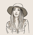 beautiful girl portrait blonde woman with hat vector image