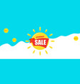 bright blue banner with yellow sun and text summer vector image vector image