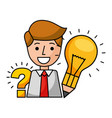 businessman with pencil and light bulb vector image