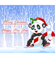 Cartoon funny panda bear holding Christmas candy vector image vector image