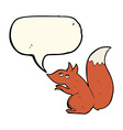 cartoon red squirrel with speech bubble vector image vector image