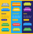 cartoon sofa or divan banner vecrtical set vector image