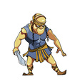 cartoon warrior with a sword in Viking clothes vector image vector image