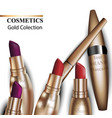 colorful realistick lipstick package in gold vector image vector image