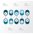 construction outline icons set collection of vector image vector image
