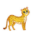 cute cheetah stands on a white background vector image vector image