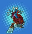 cyber heart in robot hand vector image vector image