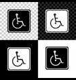 disabled handicap icon isolated on black white vector image vector image