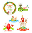 easter holiday wishes cartoon emblem set vector image vector image