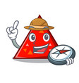 explorer triangel mascot cartoon style vector image