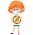 girl wearing mask and holding stop coronavirus vector image vector image