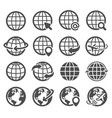globe icons set world earth worldwide map vector image