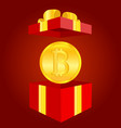 golden shiny coin with bitcoin symbol red gift vector image vector image