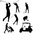 golf players silhouettes vector image