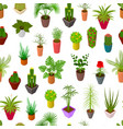 green plants in pot seamless pattern background 3d vector image vector image