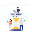 hourglass work time management concept vector image vector image