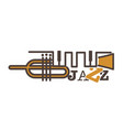 jazz promotional emblem with abstract golden pipe vector image vector image