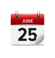 June 25 flat daily calendar icon Date vector image vector image