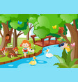 kids and animals by the river vector image vector image