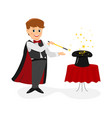 magician with stars and magic wand vector image vector image