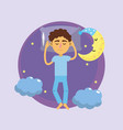 man sleeping and taking good night vector image