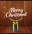 merry christmas greeting card with gift box vector image vector image