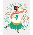 mexican lady dancer in traditional costume vector image vector image