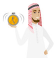 muslim businessman holding alarm clock vector image vector image