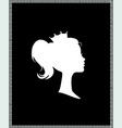 princess or queen profile silhouette with crown vector image