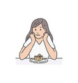 sad female sitting at table propping head and vector image vector image