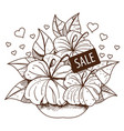 sale bouquet flowers outline drawing for design vector image vector image